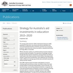 Strategy for Australia's aid investments in education 2015–2020