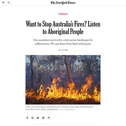 Want to Stop Australia's Fires? Listen to Aboriginal People
