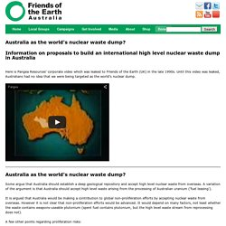 Australia as the world's nuclear waste dump?