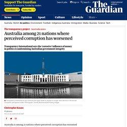 Australia among 21 nations where perceived corruption has worsened