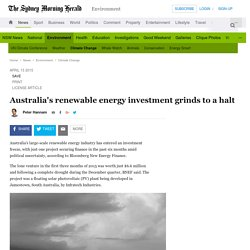 Australia's renewable energy investment grinds to a halt