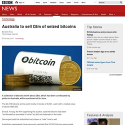 Australia to sell £8m of seized bitcoins