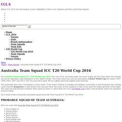 Australia Team Squad ICC T20 World Cup 2016
