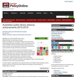 Australian public library alliance achievements 2010-2015