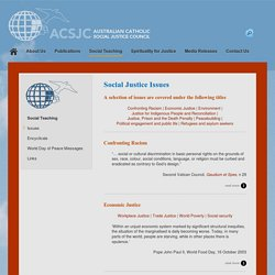 Issues - Australian Catholic Social Justice Council