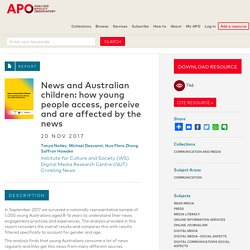 News and Australian children: how young people access, perceive and are affected by the news