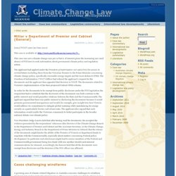 Climate Change Law » Australian and overseas developments