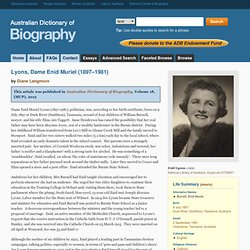 Dame Enid Muriel Lyons