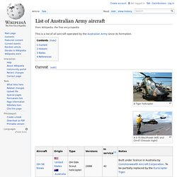 List of Australian Army aircraft