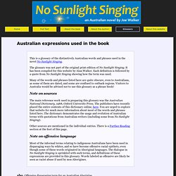 No Sunlight Singing - glossary of Australian expressions