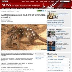 Australian mammals on brink of extinction calamity