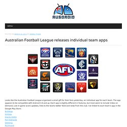 Australian Football League releases individual team apps