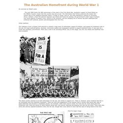 The Australian Home Front during World War 1