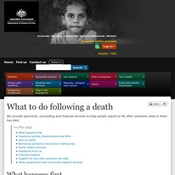 What to do following a death - Australian Government Department of Human Services