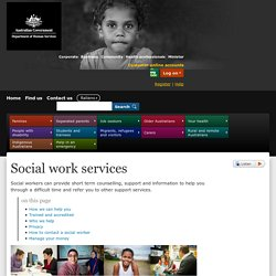 Social work services - Australian Government Department of Human Services
