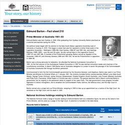 Edmund Barton - Fact sheet 210 – National Archives of Australia, Australian Government