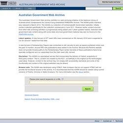 NLA Australian Government Web Archive