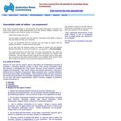 Australian journalists code of ethics