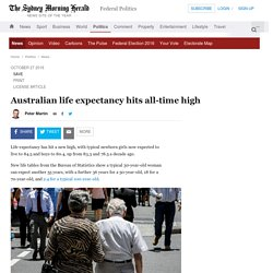 Australian life expectancy hits all-time high