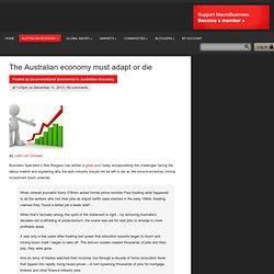 The Australian economy must adapt or die