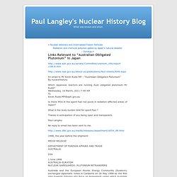 "Links Relevant to ""Australian Obligated Plutonium"" in Japan"