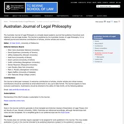 Australian Journal of Legal Philosophy - TC Beirne School of Law - The University of Queensland, Australia