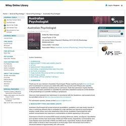 Australian Psychologist - Author Guidelines