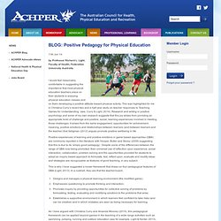 BLOG: Positive Pedagogy for Physical Education - ACHPER - The Australian Council for Health, Physical Education and Recreation Inc.