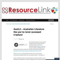 AustLit – Australian Literature like you've never accessed it before! | ResourceLink