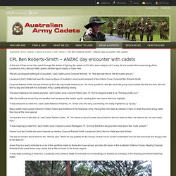 Australian Army Cadets - CPL Ben Roberts-Smith – ANZAC day encounter with cadets