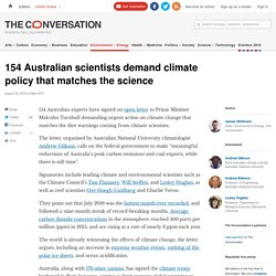 154 Australian scientists demand climate policy that matches the science