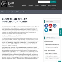 Australian Skilled Immigration Points