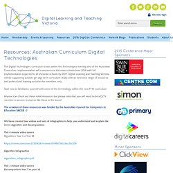 Resources: Australian Curriculum Digital Technologies