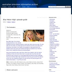 Australian Television: Blue Water High: episode guide: series 1