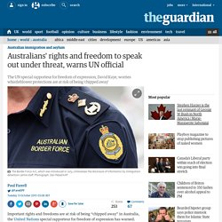 Australians' rights and freedom to speak out under threat, warns UN official