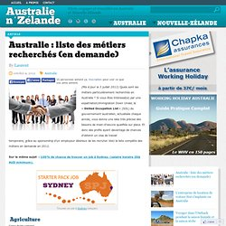 Australie : liste des métiers recherchés (en demande)