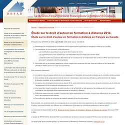 Étude sur le droit d'auteur en formation à distance 2014