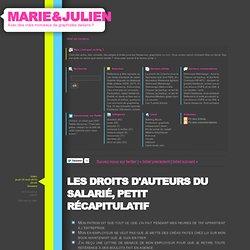 Les droits d'auteurs du salarié, petit récapitulatif - MARIE /// JULIEN