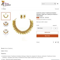 Authentic Indian Traditional Imitation Kolhapuri Style Coin Jewelry for Women / AZINLH029