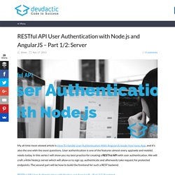 RESTful API User Authentication with Node.js and AngularJS