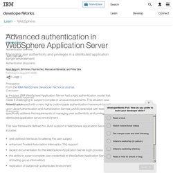 Advanced authentication in WebSphere Application Server