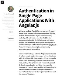 Authentication in Single Page Applications With Angular.js