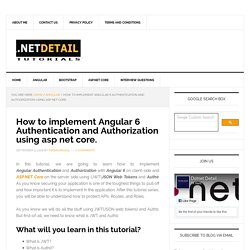 How to implement Angular 6 authentication and authorization using asp net core – DOTNET DETAIL