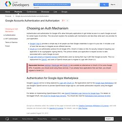 Choosing an Auth Mechanism - Authentication and Authorization for Google APIs - Google Code