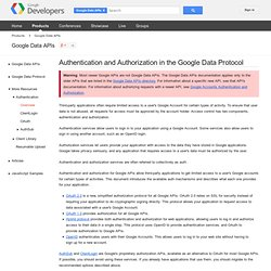 Authentication and Authorization in the Google Data Protocol - Google Data Protocol - Google Code