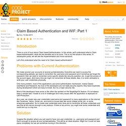 Claim based Authentication and WIF