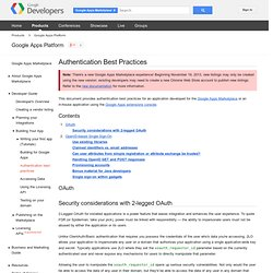 Authentication Best Practices - Google Apps Marketplace - Google Code