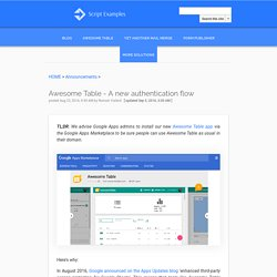 Awesome Table - A new authentication flow - Google Apps Script Examples