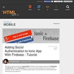 Adding Social Authentication to Ionic App With Firebase-Tutorial