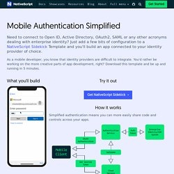 Simplified MobileAuthentication withOAuth2, SAML, LDAP, and More